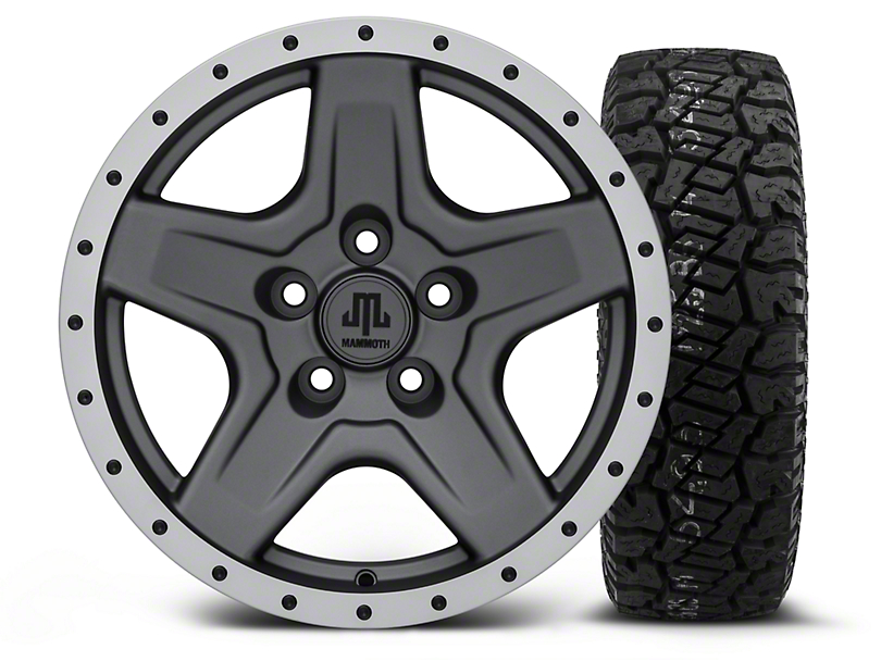 Mammoth Boulder Beadlock Style Charcoal 16x8 Wheel & Dick Cepek Fun Country 265/75R16 Tire Kit (87-06 Jeep Wrangler YJ & TJ)