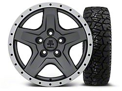 Mammoth Boulder Beadlock Style Charcoal 16x8 Wheel and Dick Cepek Fun Country 265/75R16; Set of Five (87-06 Jeep Wrangler YJ & TJ)