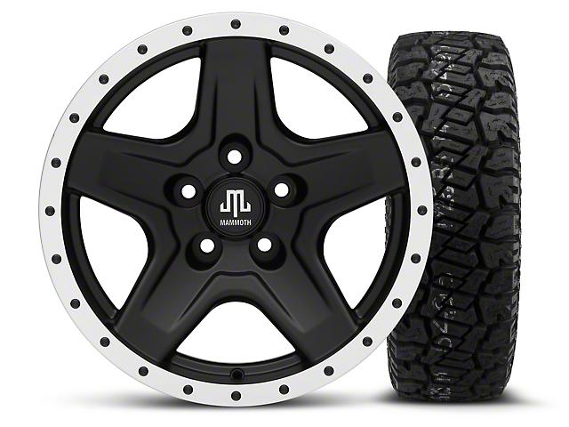 Mammoth Boulder Beadlock Style Black - 16x8 Wheel - and Dick Cepek Fun Country Tire - 265/75R16 (87-06 Wrangler YJ & TJ)