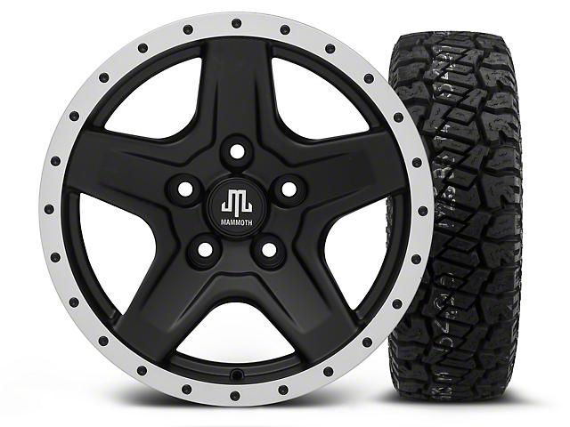 Mammoth Boulder Beadlock Style Black - 16x8 Wheel - and Dick Cepek Fun Country Tire - 265/75R16 (07-18 Wrangler JK)