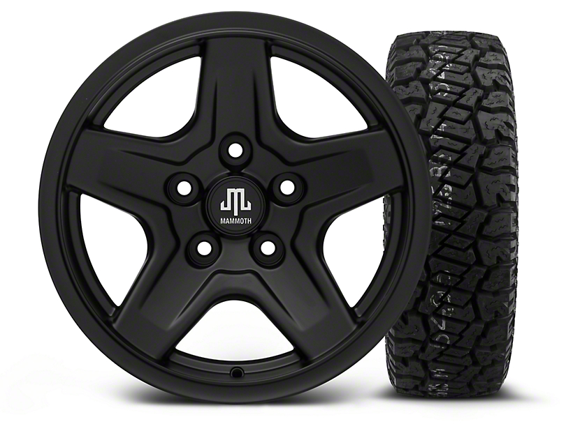 Mammoth Boulder Black - 16x8 Wheel - and Dick Cepek Fun Country Tire - 265/75R16 (07-18 Jeep Wrangler JK)