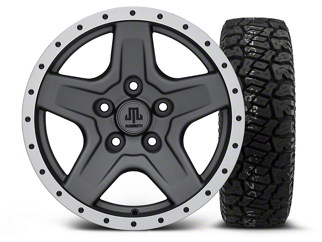 Mammoth Boulder Beadlock Style Charcoal - 16x8 Wheel - and Dick Cepek Fun Country Tire - 265/75R16 (07-18 Wrangler JK)