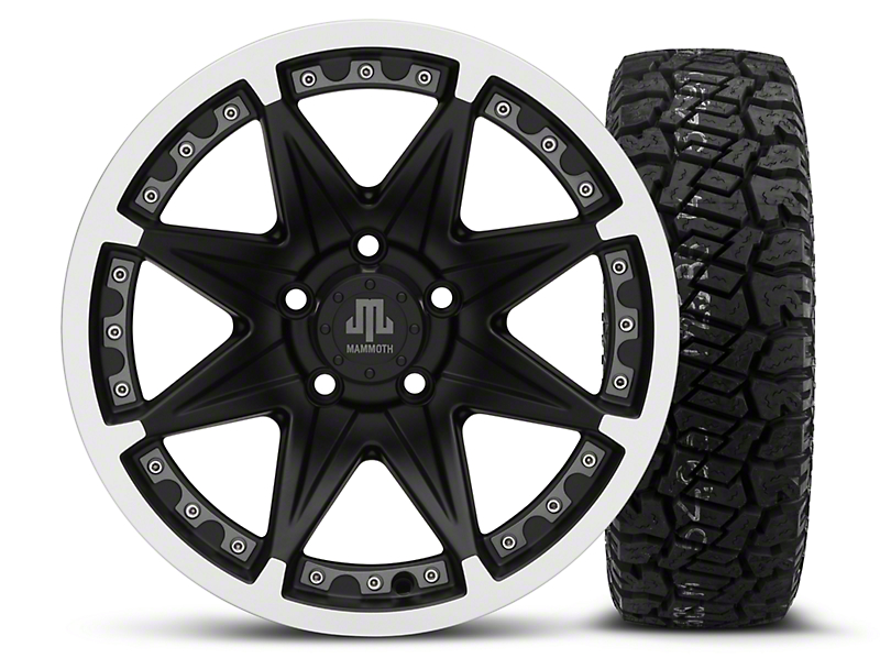 Mammoth Type 88 Black - 16x8 Wheel - and Dick Cepek Fun Country Tire - 265/75R16 (87-06 Wrangler YJ & TJ)