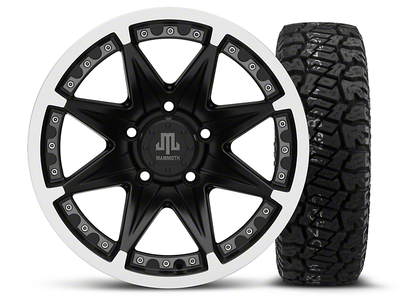 Mammoth Type 88 Black - 16x8 Wheel - and Dick Cepek Fun Country Tire - 265/75R16 (07-18 Wrangler JK)