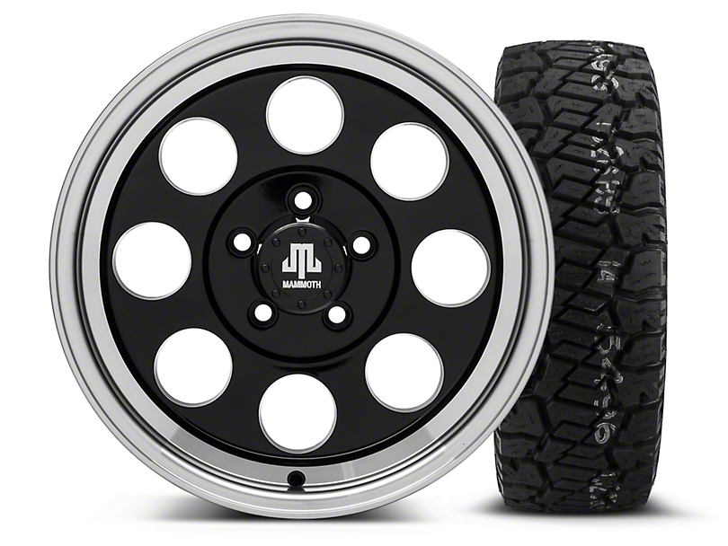 Mammoth 8 Black - 16x8 Wheel - and Dick Cepek Fun Country Tire - 285/75R16 (87-06 Wrangler YJ & TJ)