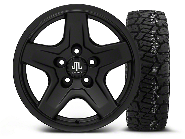 Mammoth Boulder Black 16x8 Wheel and Dick Cepek Fun Country 285/75R16 Tire Kit (87-06 Jeep Wrangler YJ & TJ)