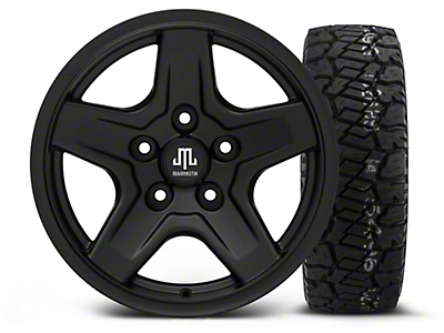 Mammoth Boulder Black - 16x8 Wheel - and Dick Cepek Fun Country Tire - 285/75R16 (07-18 Jeep Wrangler JK; 2018 Jeep Wrangler JL)
