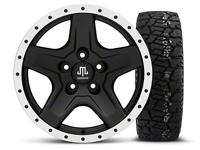 Mammoth Boulder Beadlock Style Black 16x8 Wheel & Dick Cepek Fun Country 285/75R16 Tire Kit (87-06 Jeep Wrangler YJ & TJ)