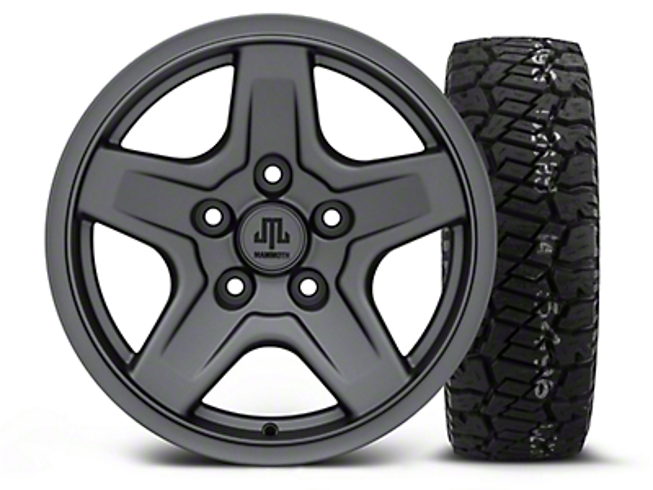 Mammoth Boulder Charcoal - 16x8 Wheel - and Dick Cepek Fun Country Tire - 285/75R16 (07-18 Jeep Wrangler JK; 2018 Jeep Wrangler JL)