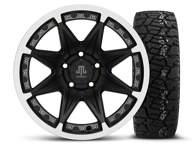 Mammoth Type 88 Black - 16x8 Wheel - and Dick Cepek Fun Country Tire - 285/75R16 (87-06 Wrangler YJ & TJ)