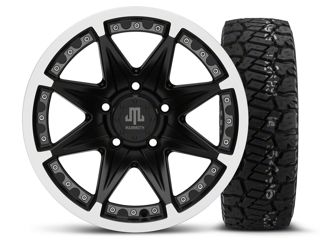 Mammoth Type 88 Black - 16x8 Wheel - and Dick Cepek Fun Country Tire - 285/75R16 (07-18 Jeep Wrangler JK; 2018 Jeep Wrangler JL)