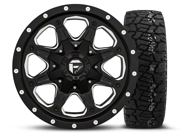 Fuel Wheels Boost; Black/Milled 16x8 Wheel; and Dick Cepek Fun Country Tire; 285/75R16 (07-18 Jeep Wrangler JK; 2018 Jeep Wrangler JL)