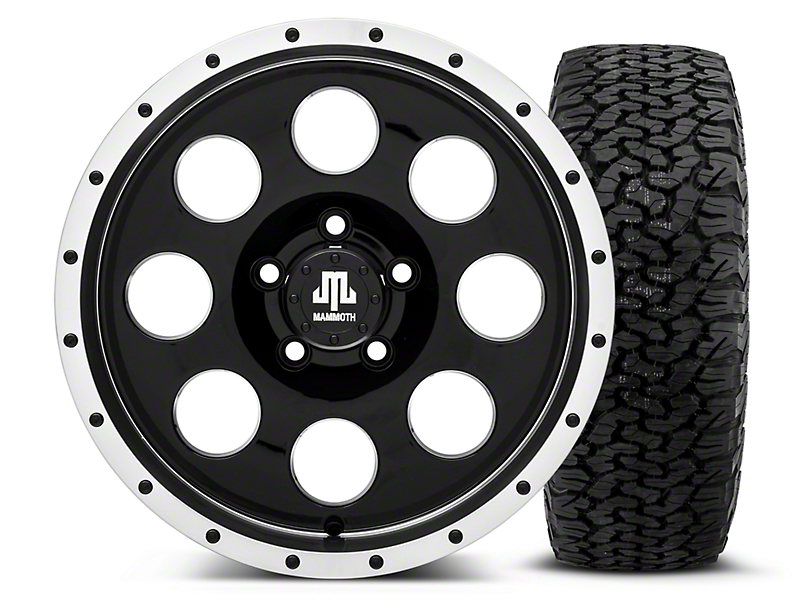Mammoth 8 Beadlock Style Black 16x8 Wheel & Dick Cepek Fun Country 315/75R16 Tire Kit (87-06 Wrangler YJ & TJ)