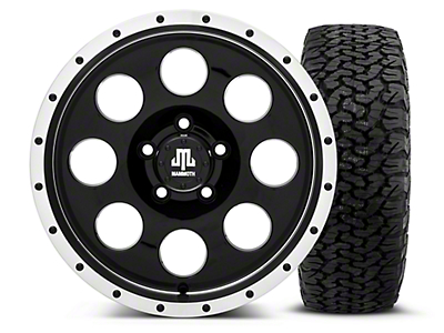 Mammoth 8 Beadlock Style Black 16x8 Wheel & Dick Cepek Fun Country 315/75R16 Tire Kit (87-06 Jeep Wrangler YJ & TJ)