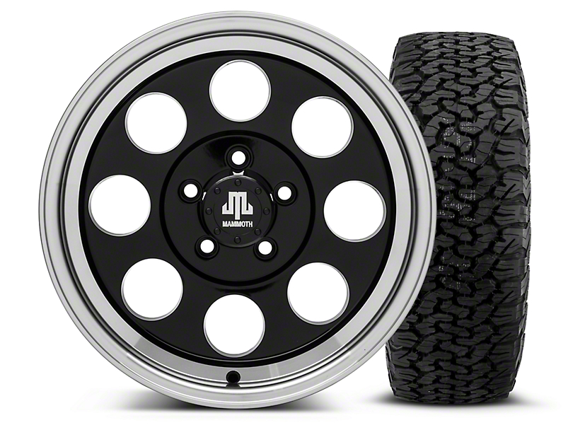 Mammoth 8 Black 16x8 Wheel & Dick Cepek Fun Country 315/75R16 Tire Kit (87-06 Wrangler YJ & TJ)