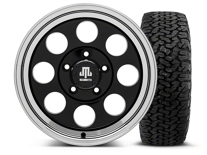 Mammoth 8 Black - 16x8 Wheel - and Dick Cepek Fun Country Tire - 315/75R16 (07-18 Jeep Wrangler JK)