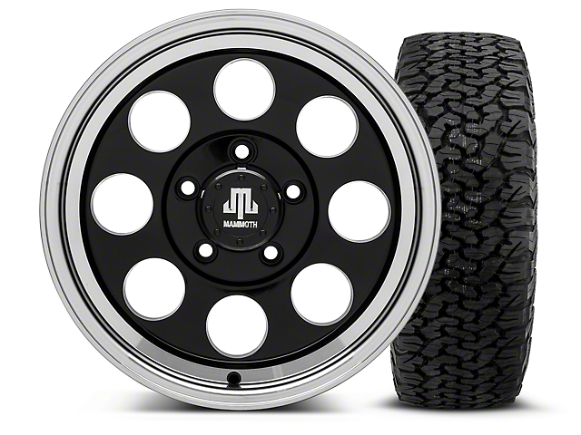 Mammoth 8 Black - 16x8 Wheel - and Dick Cepek Fun Country Tire - 315/75R16 (07-18 Jeep Wrangler JK; 2018 Jeep Wrangler JL)
