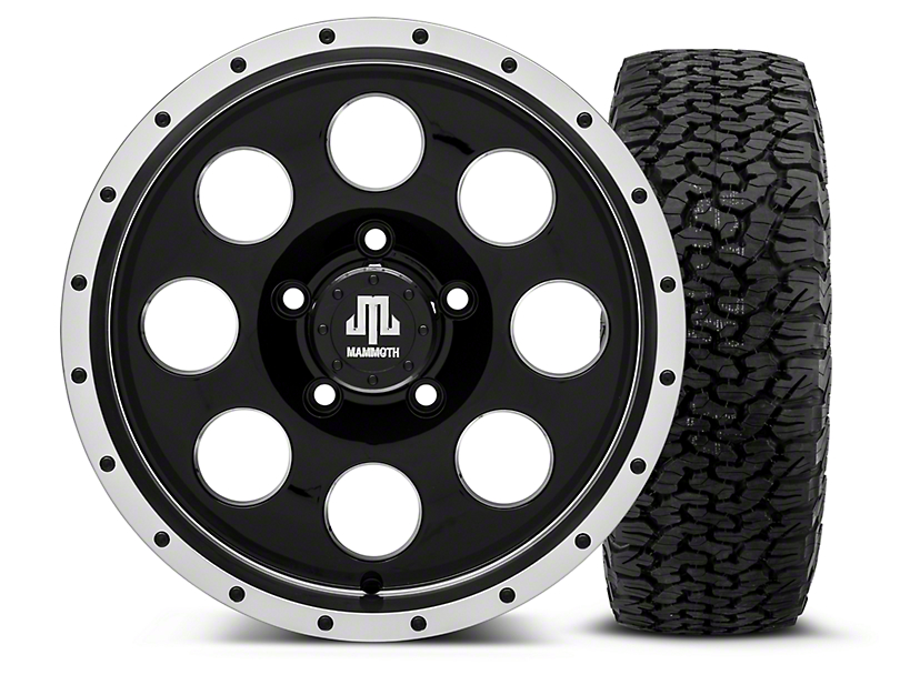 Mammoth 8 Beadlock Style Black - 16x8 Wheel - and Dick Cepek Fun Country Tire - 315/75R16 (07-18 Wrangler JK; 2018 Wrangler JL)