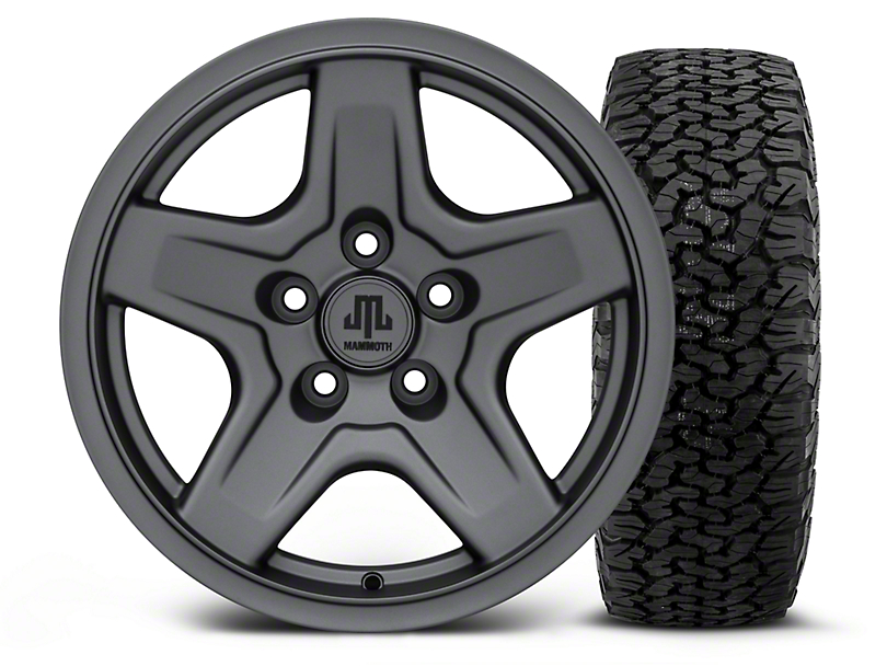 Mammoth Boulder Charcoal 16x8 Wheel and Dick Cepek Fun Country 315/75R16 Tire Kit (87-06 Jeep Wrangler YJ & TJ)