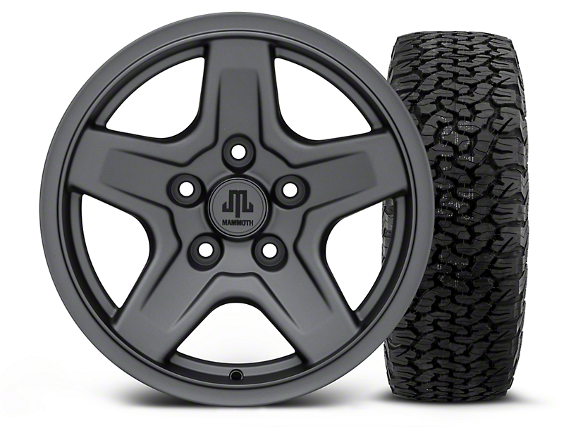 Mammoth Boulder Charcoal 16x8 Wheel and Dick Cepek Fun Country 315/75R16 Tire Kit (07-18 Jeep Wrangler JK)