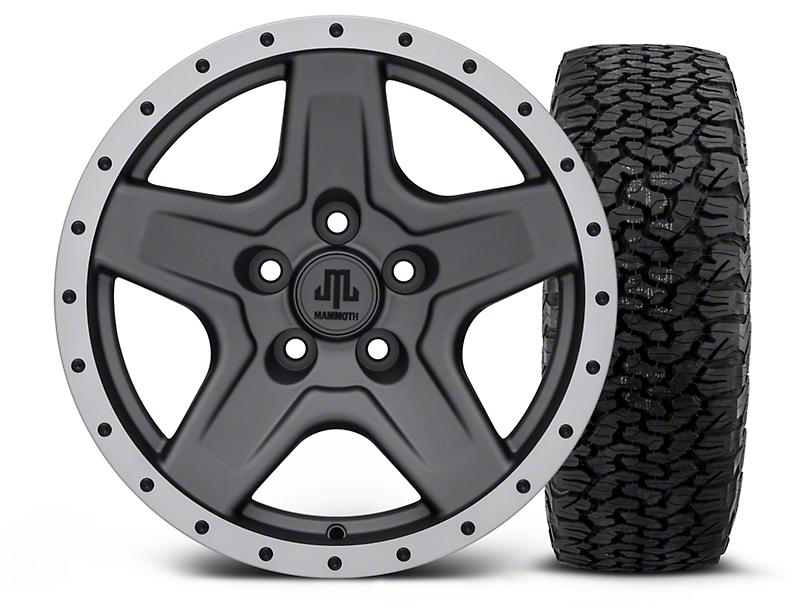 Mammoth Boulder Beadlock Style Charcoal 16x8 Wheel & Dick Cepek Fun Country 315/75R16 Tire Kit (87-06 Wrangler YJ & TJ)