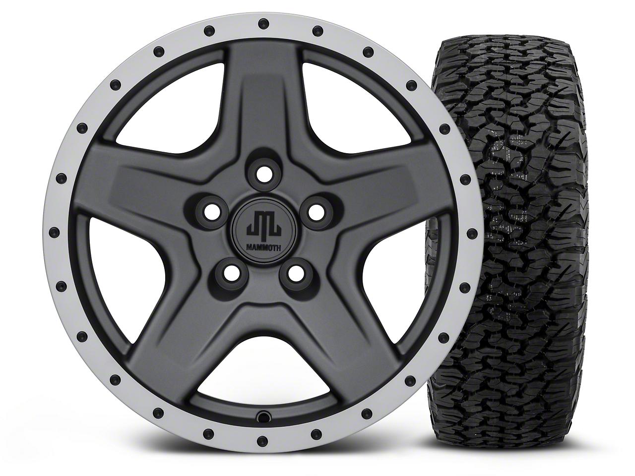 Mammoth Boulder Beadlock Style Charcoal 16x8 Wheel & Dick Cepek Fun Country 315/75R16 Tire Kit (87-06 Jeep Wrangler YJ & TJ)