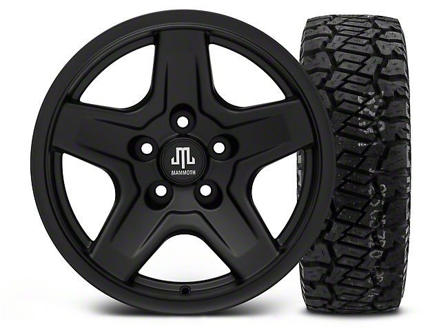 Mammoth Boulder Black 16x8 Wheel & Dick Cepek Fun Country 315/75R16 Tire Kit (87-06 Jeep Wrangler YJ & TJ)