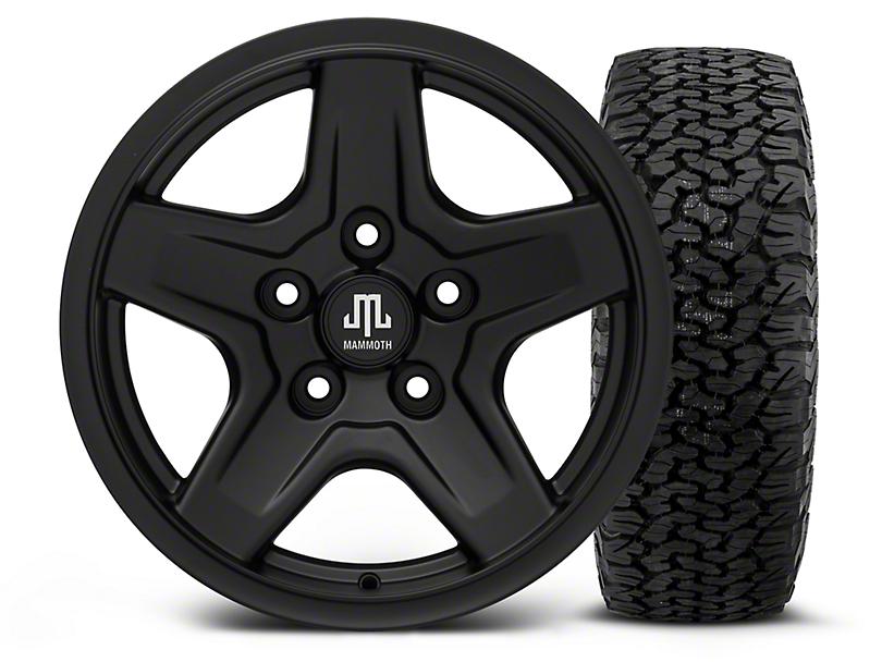 Mammoth Boulder Black - 16x8 Wheel - and Dick Cepek Fun Country Tire - 315/75R16 (07-18 Wrangler JK)