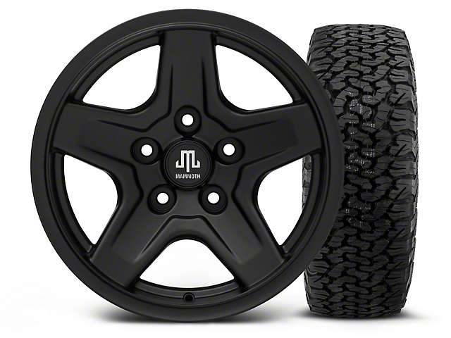 Mammoth Boulder Black - 16x8 Wheel - and Dick Cepek Fun Country Tire - 315/75R16 (07-18 Jeep Wrangler JK; 2018 Jeep Wrangler JL)