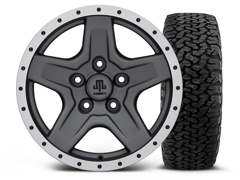 Mammoth Boulder Beadlock Style Charcoal - 16x8 Wheel - and Dick Cepek Fun Country Tire - 315/75R16 (07-18 Wrangler JK)