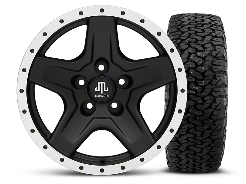 Mammoth Boulder Beadlock Style Black - 16x8 Wheel - and Dick Cepek Fun Country Tire - 315/75R16 (87-06 Wrangler YJ & TJ)