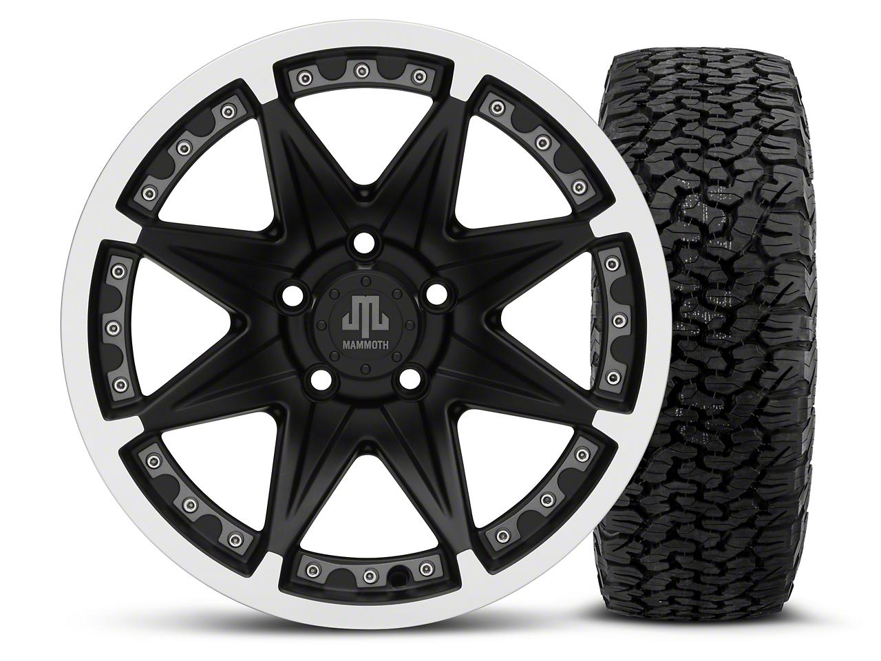 Mammoth Type 88 Black 16x8 Wheel & Dick Cepek Fun Country 315/75R16 Tire Kit (87-06 Jeep Wrangler YJ & TJ)
