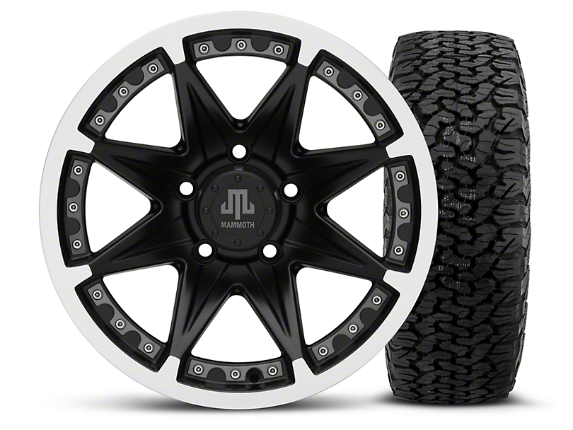 Mammoth Type 88 Black - 16x8 Wheel - and Dick Cepek Fun Country Tire - 315/75R16 (07-18 Wrangler JK; 2018 Wrangler JL)