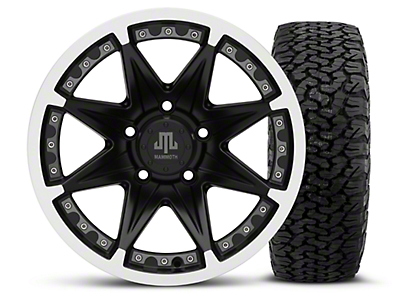 Mammoth Type 88 Black - 16x8 Wheel - and Dick Cepek Fun Country Tire - 315/75R16 (07-18 Jeep Wrangler JK; 2018 Jeep Wrangler JL)