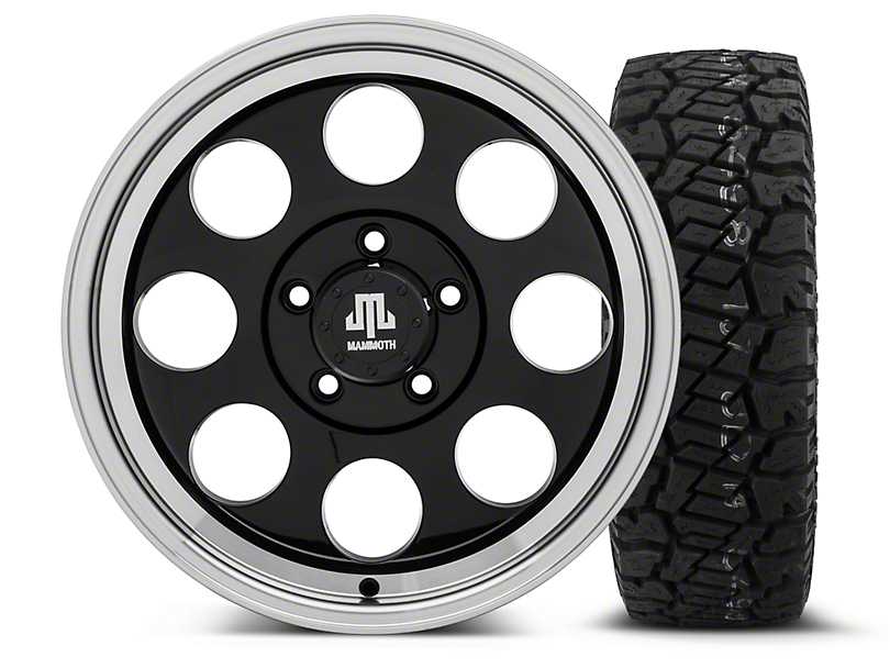 Mammoth 8 Black - 17x9 Wheel - and Dick Cepek Fun Country Tire - 285/70R17 (07-18 Wrangler JK; 2018 Wrangler JL)