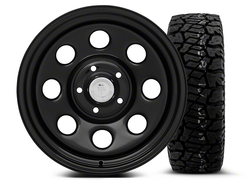 Mammoth 8 Black Steel - 17x9 Wheel - and Dick Cepek Fun Country Tire - 285/70R17 (07-18 Wrangler JK)