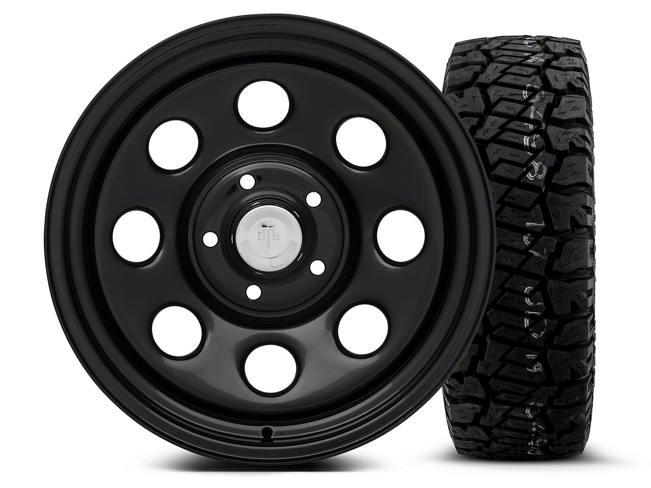 Mammoth 8 Black Steel - 17x9 Wheel - and Dick Cepek Fun Country Tire - 285/70R17 (07-18 Jeep Wrangler JK; 2018 Jeep Wrangler JL)