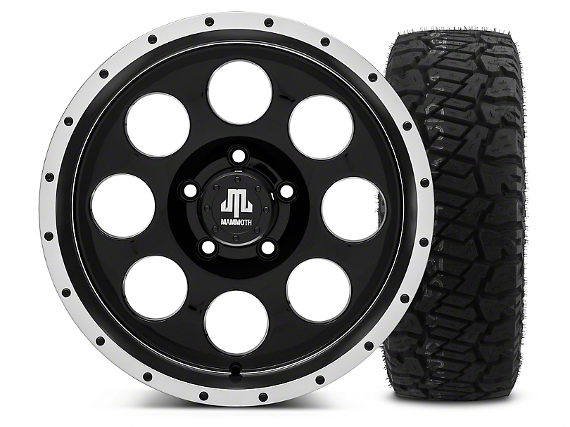 Mammoth 8 Beadlock Style Black - 17x9 Wheel - and Dick Cepek Fun Country Tire - 315/70R17 (07-18 Jeep Wrangler JK)