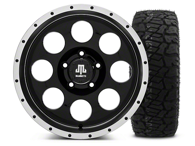 Mammoth 8 Beadlock Style Black - 17x9 Wheel - and Dick Cepek Fun Country Tire - 315/70R17 (07-18 Wrangler JK; 2018 Wrangler JL)