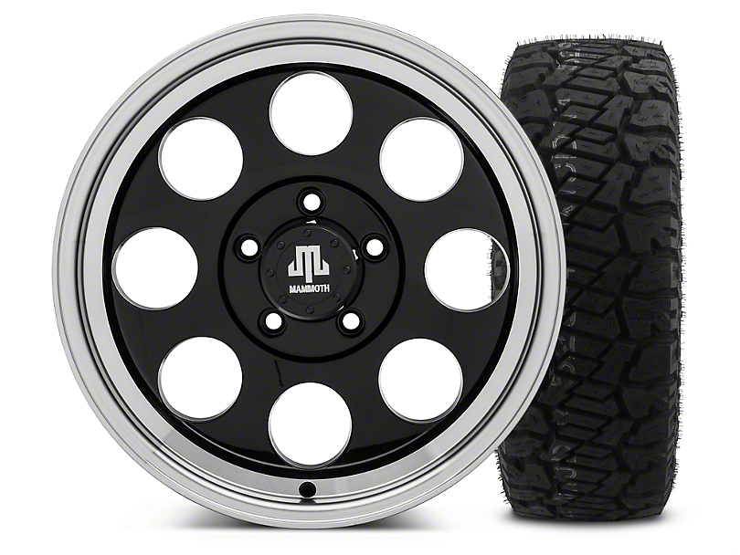 Mammoth 8 Black - 17x9 Wheel - and Dick Cepek Fun Country Tire - 315/70R17 (07-18 Jeep Wrangler JK)