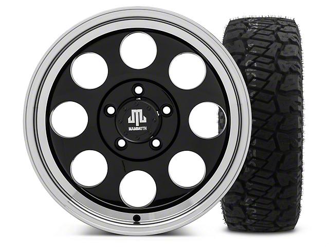 Mammoth 8 Black 17x9 Wheel and Dick Cepek Fun Country 315/70R17 Tire Kit (07-18 Jeep Wrangler JK)