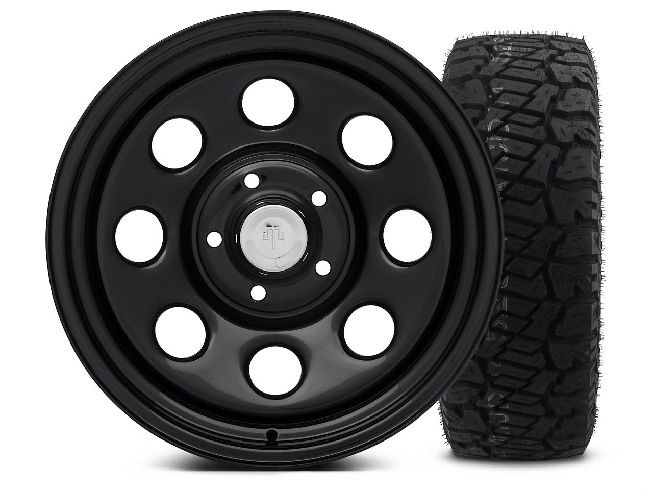 Mammoth 8 Black Steel - 17x9 Wheel - and Dick Cepek Fun Country Tire - 315/70R17 (07-18 Jeep Wrangler JK; 2018 Jeep Wrangler JL)