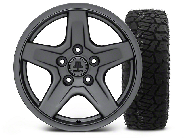 Mammoth Boulder Charcoal - 17x9 Wheel - and Dick Cepek Fun Country Tire - 315/70R17 (07-18 Jeep Wrangler JK)