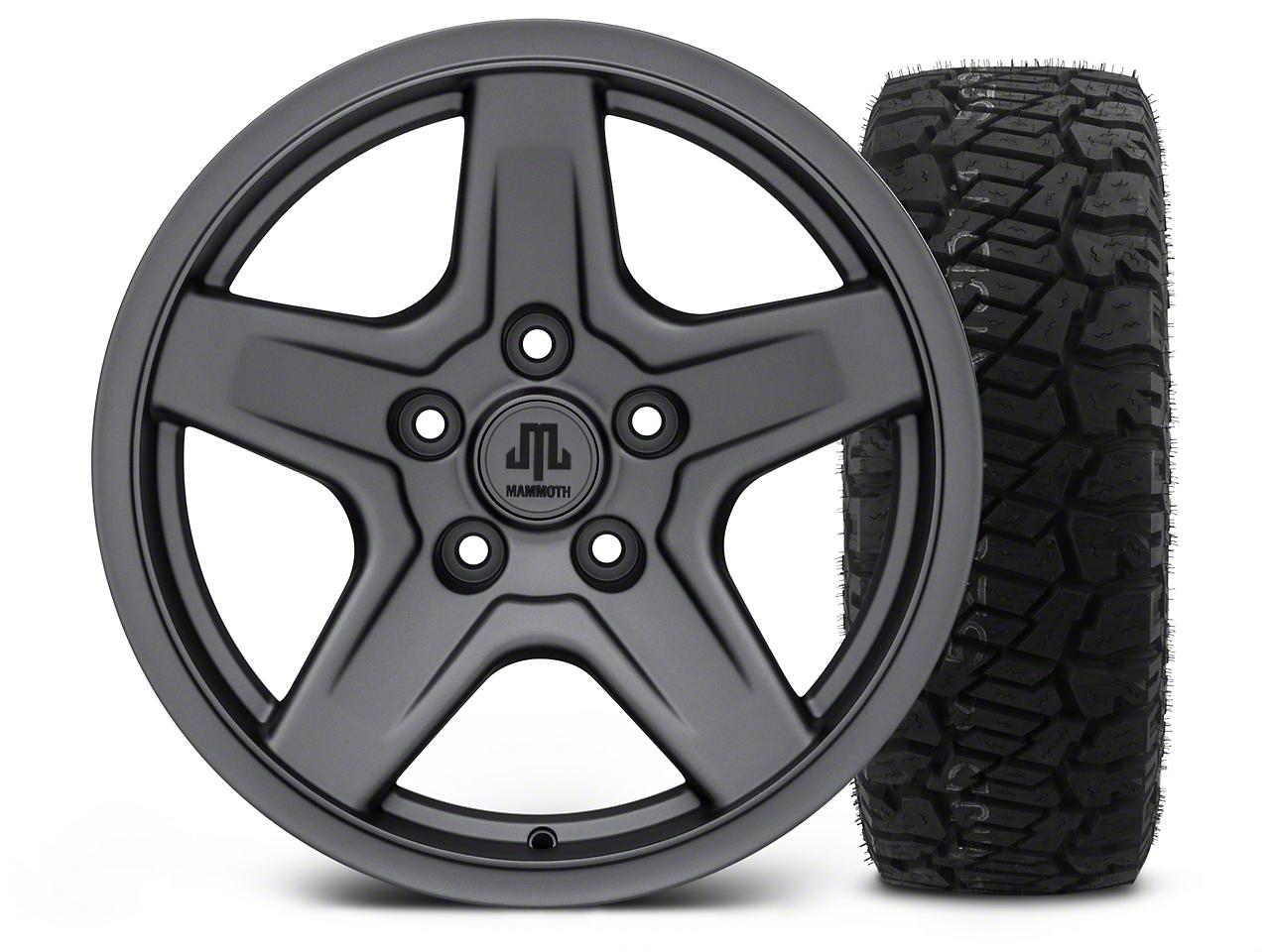Mammoth Boulder Charcoal - 17x9 Wheel - and Dick Cepek Fun Country Tire - 315/70R17 (07-18 Jeep Wrangler JK; 2018 Jeep Wrangler JL)