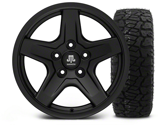 Mammoth Boulder Black - 17x9 Wheel - and Dick Cepek Fun Country Tire - 315/70R17 (07-18 Jeep Wrangler JK; 2018 Jeep Wrangler JL)