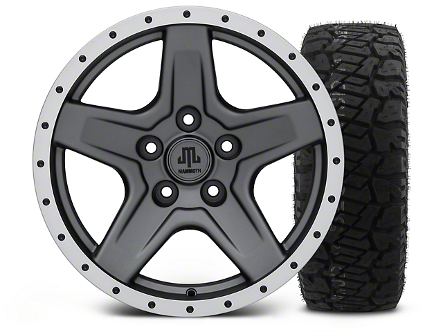 Mammoth Boulder Beadlock Style Charcoal - 17x9 Wheel - and Dick Cepek Fun Country Tire - 315/70R17 (07-18 Wrangler JK; 2018 Wrangler JL)