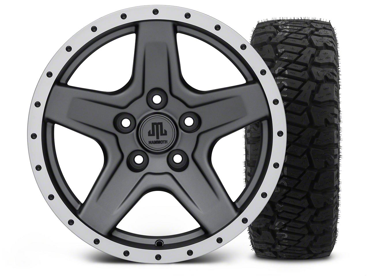 Mammoth Boulder Beadlock Style Charcoal - 17x9 Wheel - and Dick Cepek Fun Country Tire - 315/70R17 (07-18 Jeep Wrangler JK; 2018 Jeep Wrangler JL)