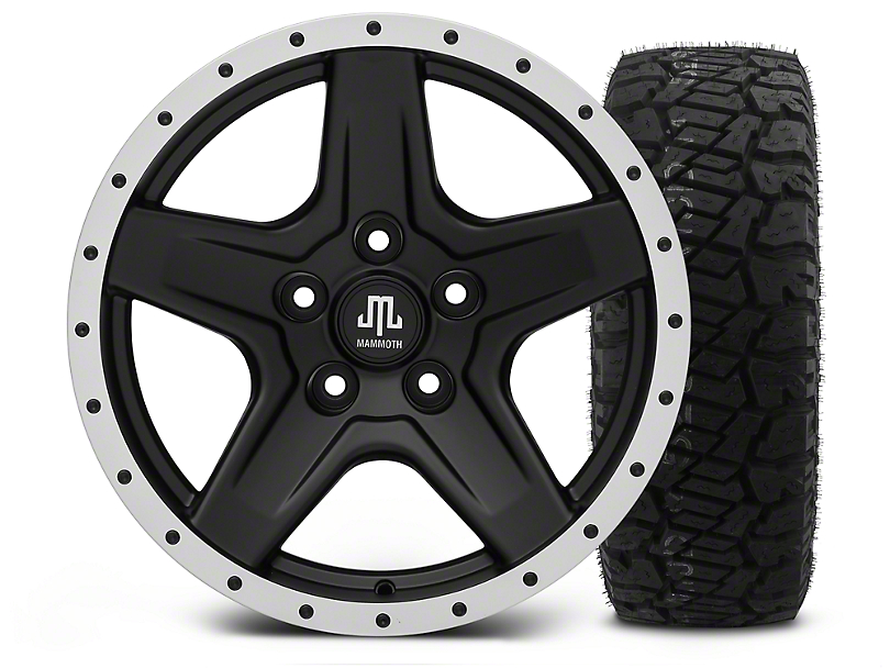 Mammoth Boulder Beadlock Style Black - 17x9 Wheel - and Dick Cepek Fun Country Tire - 315/70R17 (07-18 Wrangler JK)