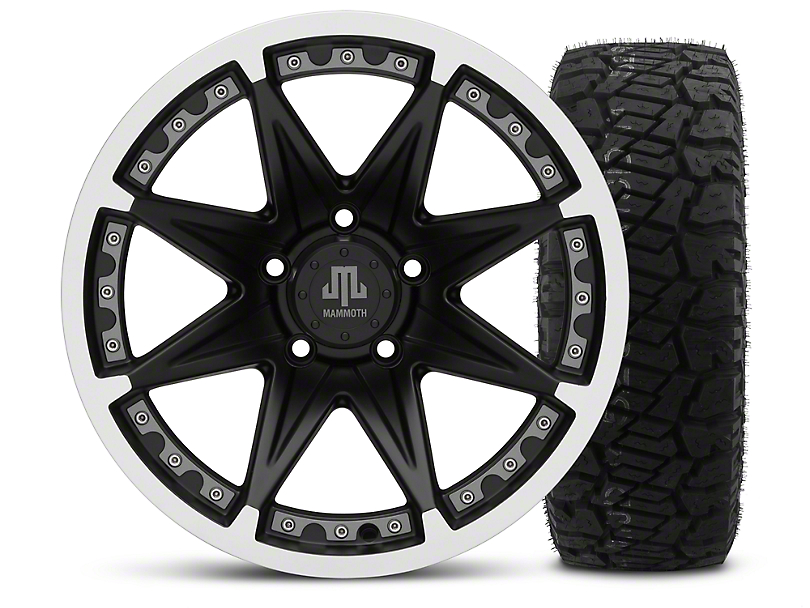 Mammoth Type 88 Black - 17x9 Wheel - and Dick Cepek Fun Country Tire - 315/70R17 (07-18 Wrangler JK)