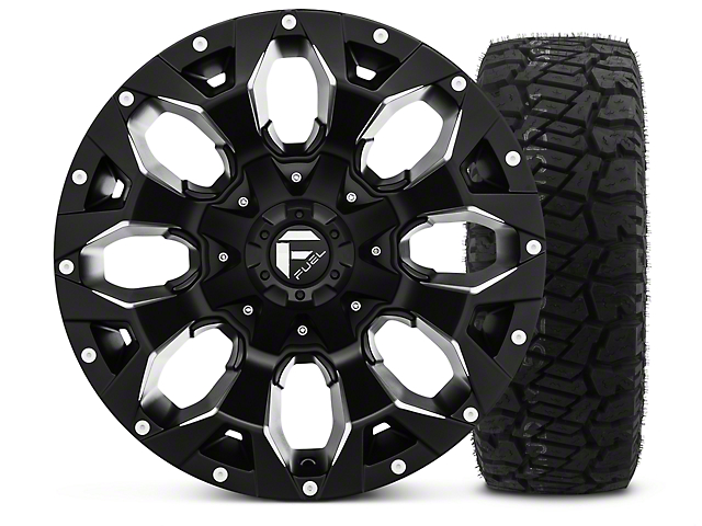 Fuel Wheels Assault Black Machined 17x9 Wheel & Dick Cepek Fun Country 315/70R17 Tire Kit (07-18 Jeep Wrangler JK)